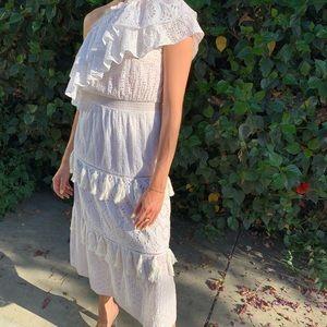 MISA Los Angeles One Shoulder Eyelet Dress